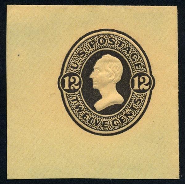 19: Envelope, 1870, 12c plum, 12c plum on amber and 12c