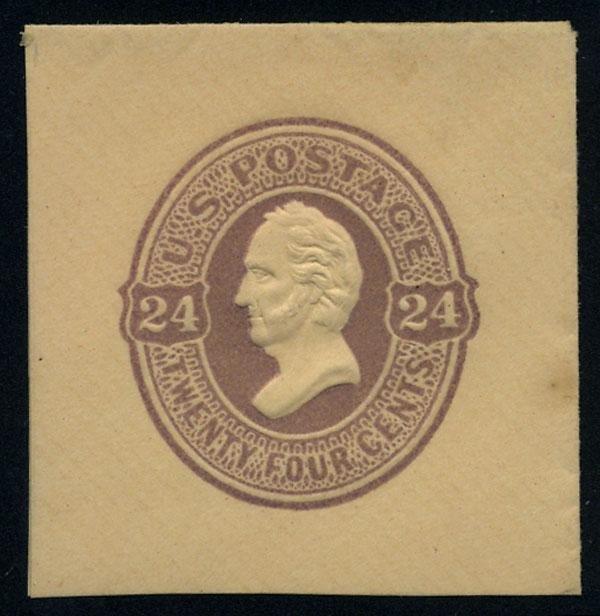 21: Envelope, 1870, 24c purple, 24c purple on amber and