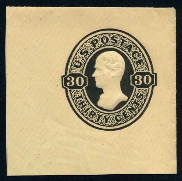 22: Envelope, 1870, 30c black, 30c black on amber and 3