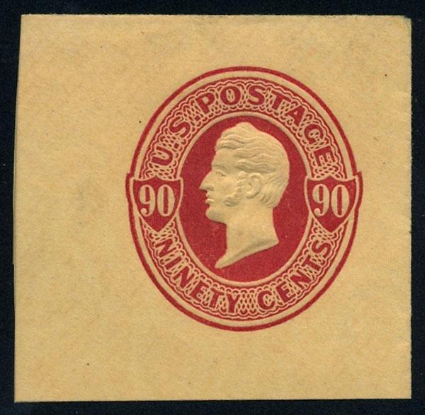 23: Envelope, 1870, 90c carmine, 90c carmine on amber a