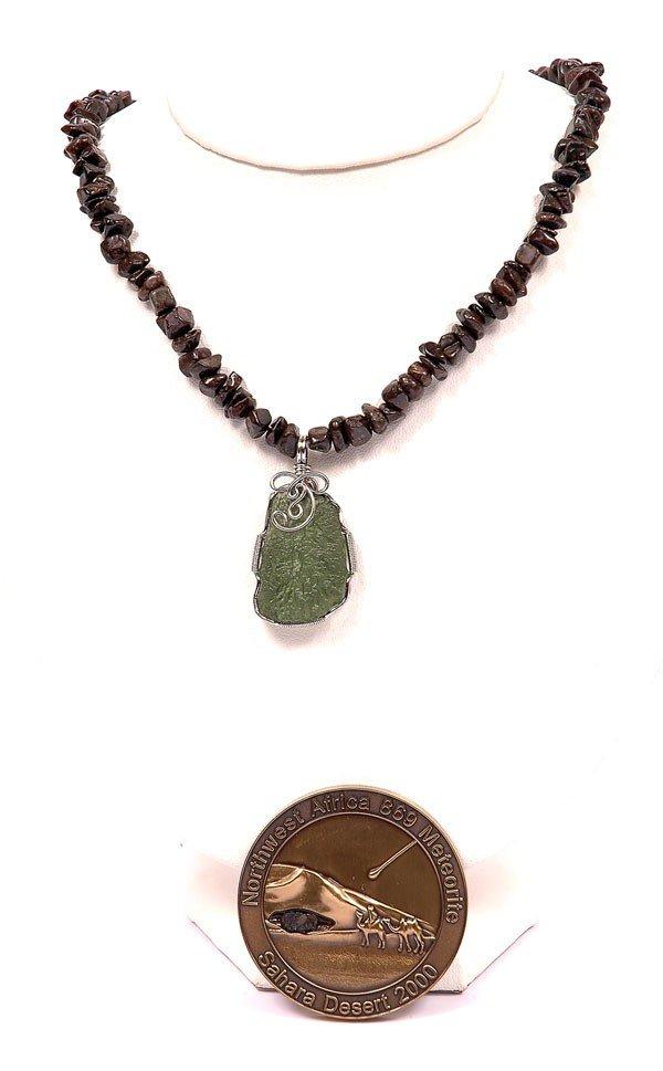 735: Meteorite Jewelry Stony Meteorite and Moldavite