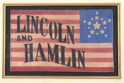 134: [Lincoln and Hamlin] 1860 Campaign Banner
