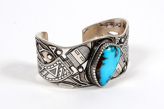 741: Sterling Silver Cuff With a Gem Natural Example of