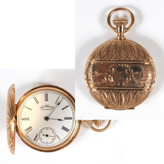 915: Waltham, 14K Yellow Gold Hunting Case Pocket Watch