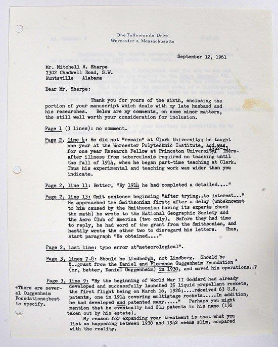 1008: Rockets, 1961, Mrs. Robert Goddard Autograph
