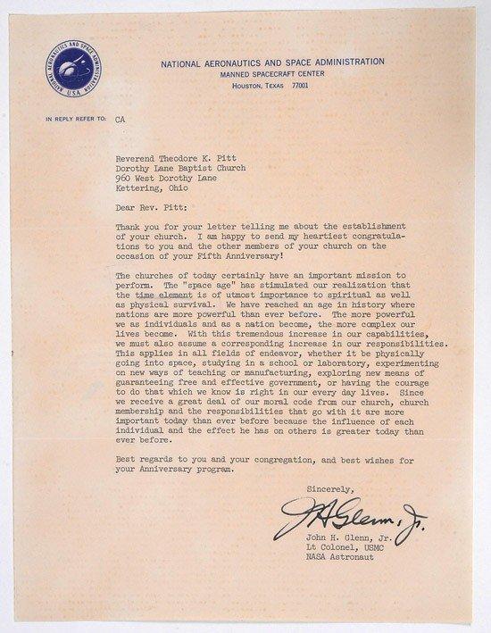 1030: MA-6, 1962, John Glenn Autographed Letter