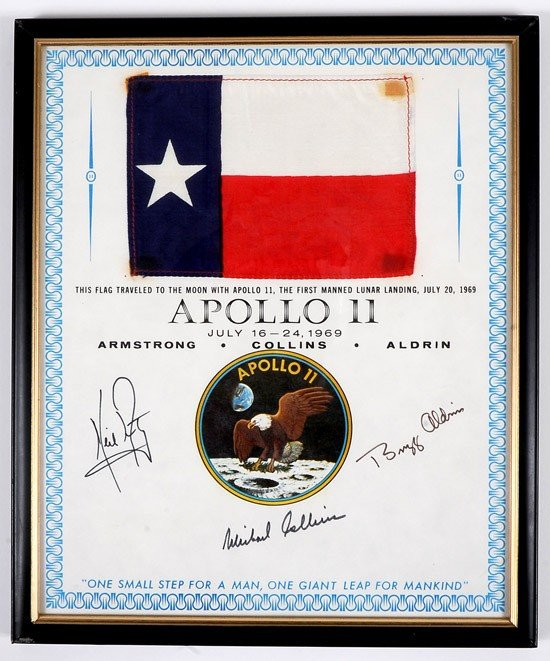 1180: Apollo 11, 1969, FLOWN Texas State Flag