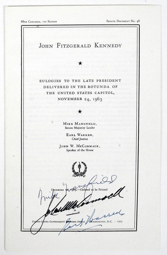 21: [Kennedy, John F.] Congressional Eulogies Signed by