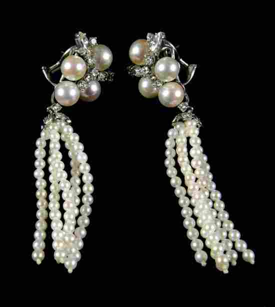 721: Pair of Cultured Pearl, Diamonds, 14K White Gold D