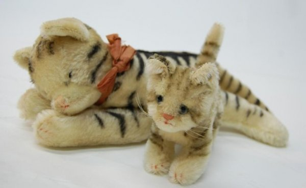 8: Steiff Small Tiger w/ possibly Steiff Larger