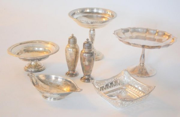 1: Sterling Silver Compotes, S & P, Openwork Bowl