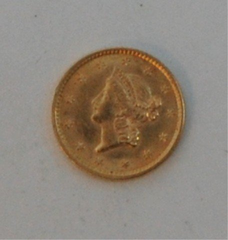 5: Gold 1853  1$ US Liberty Head Coin