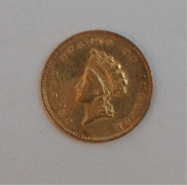 6: Gold 1855 $1 US-Small Indian Head Coin