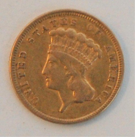 7: Gold 1854 US $3 Indian Princess Head Coin