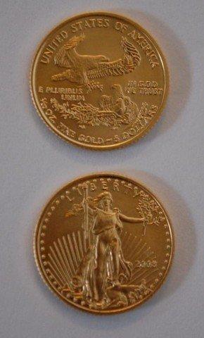 9: 2 Gold Bullion U.S. 5 Dollar American Eagle Coins