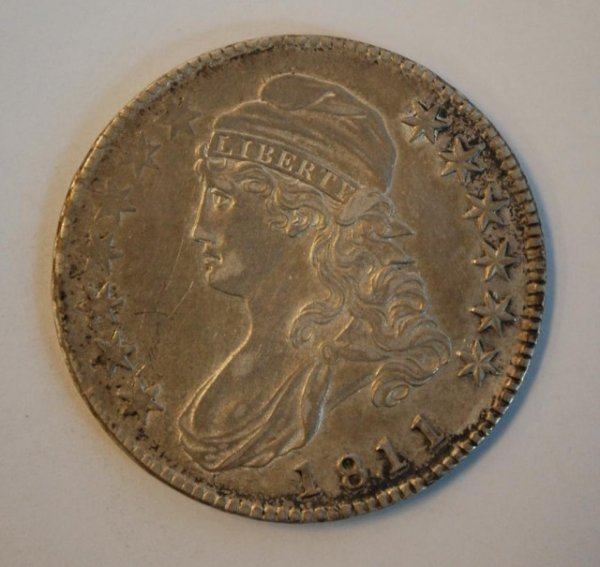 16: Desirable 18.11 Capped Bust US Silver Half Dollar