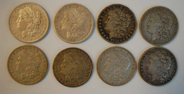 17: 8 Early Morgan US Silver Dollars