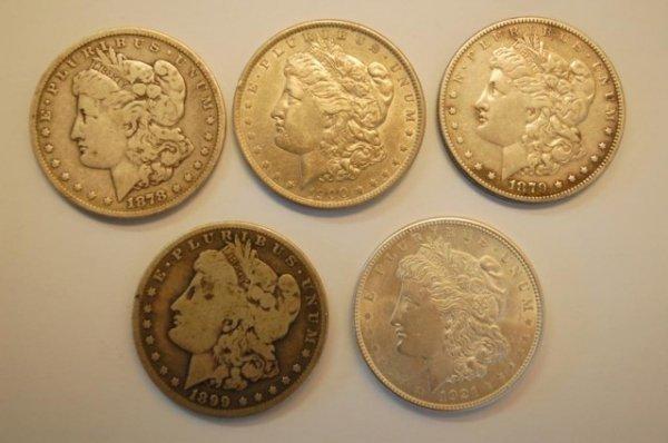 18: 5 Morgan US Silver Dollars