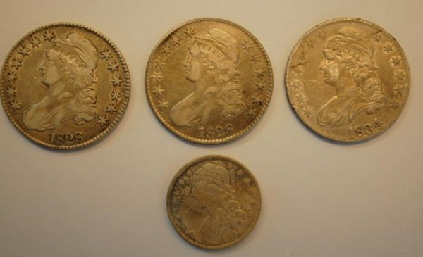 21: 4 Capped Bust Liberty US Silver Coins, Half, Qrtr