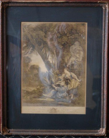 200: La Chasse, 19th C Hand Tinted Engraving