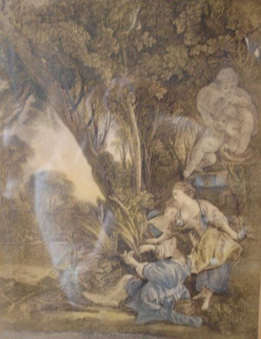 200: La Chasse, 19th C Hand Tinted Engraving - 3
