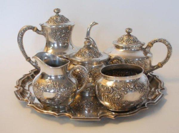 202: 1909 Gorham Sterling Silver Tea &Coffee Set Fleury