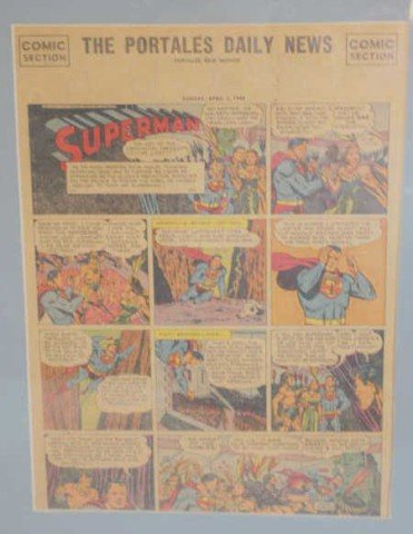 16: 1949 Superman Comic, from newspaper, framed