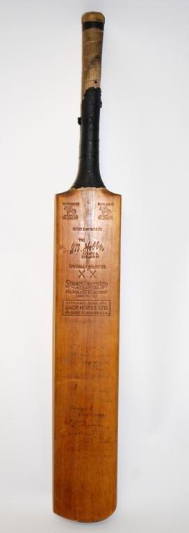 10: Donald Bradman/ J.R. Hobbs Autographed Cricket Bat