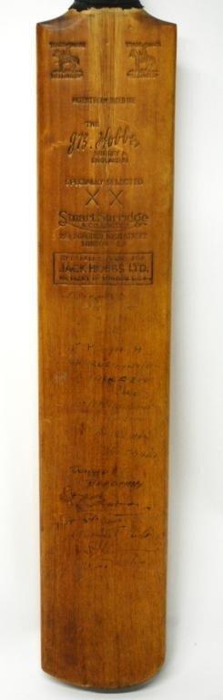10: Donald Bradman/ J.R. Hobbs Autographed Cricket Bat - 2