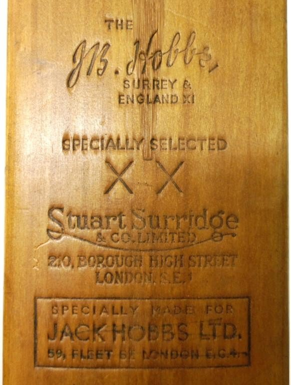 10: Donald Bradman/ J.R. Hobbs Autographed Cricket Bat - 4