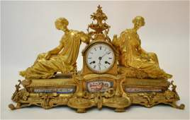 105: Miroy Freres Ormolu Clock w/ Porcelain Mounts