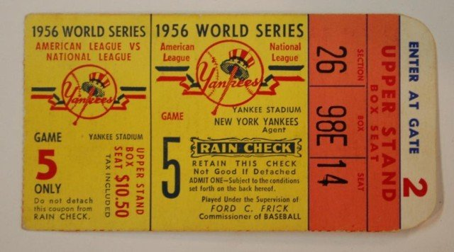 5A: 1956 Game 5 Don Larsen Perfect Game W.S. Ticket