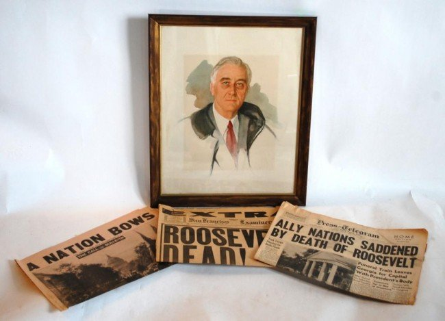 3: 3 CA Newspapers-Death of Roosevelt and FDR Portrait