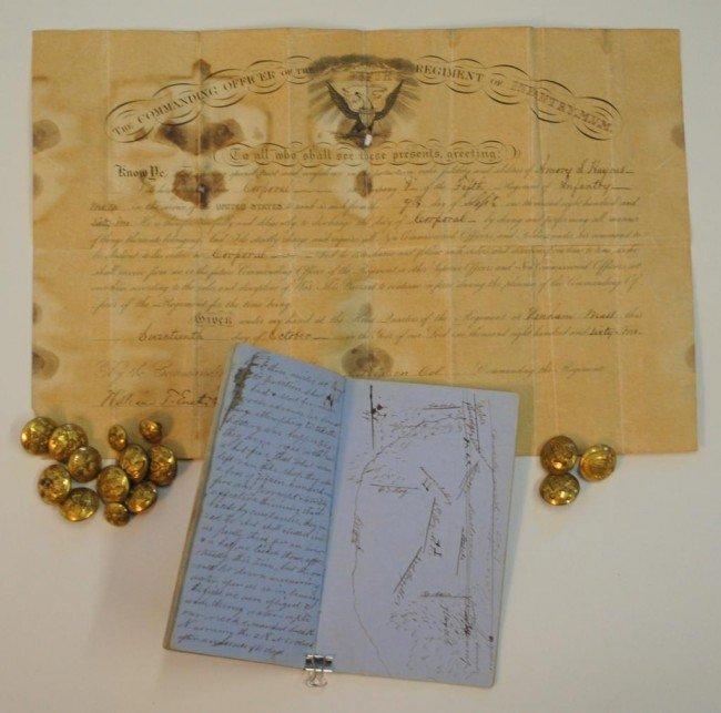 18: Civil War Diary w/ Battlefield Map, Buttons, Doc.,