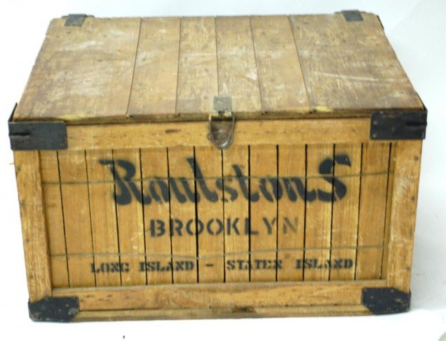 17A: Antique Wood Lidded Crate-Roulstons Brooklyn