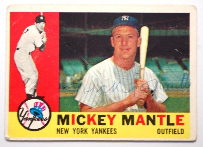 6: Mickey Mantle signed  1960 Topps Baseball Card