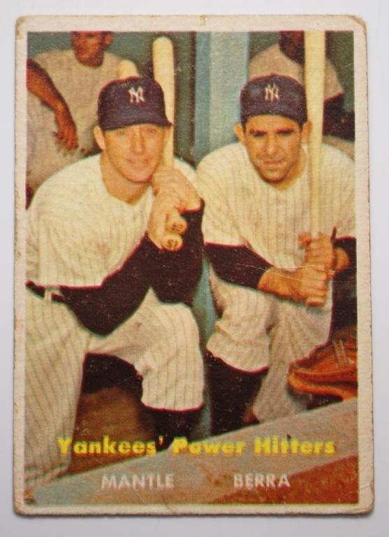 8: 1957 Topps Mantle Berra Baseball Card #407