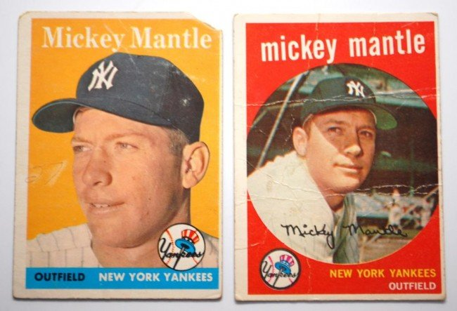 9: 1958 & 1959 Topps Mickey Mantle Baseball Cards