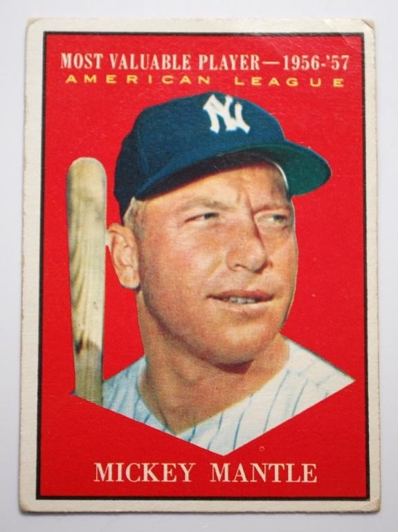 11: 1961 Topps Mickey Mantle MVP Baseball Card