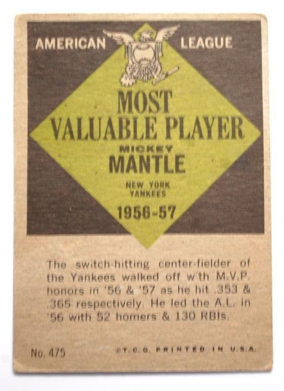11: 1961 Topps Mickey Mantle MVP Baseball Card - 2