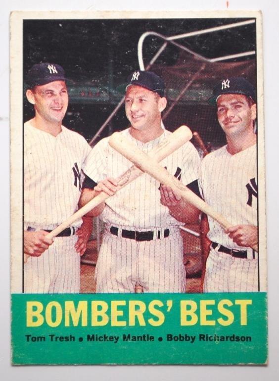 12: 1963 Topps Bombers Best Baseball Card-Mantle,