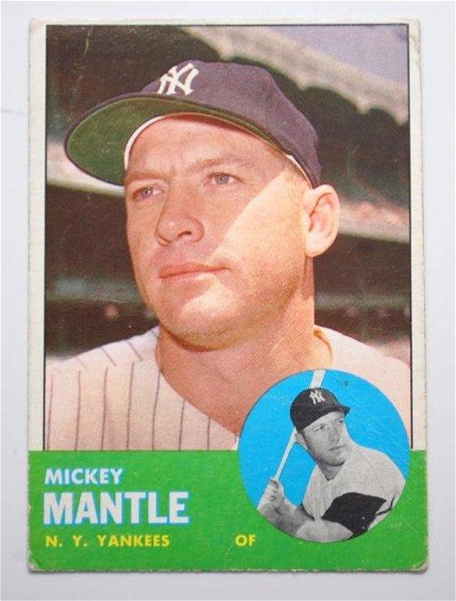 13 1963 Topps Mickey Mantle Baseball Card 200
