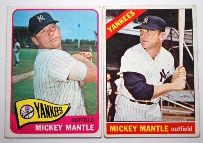 16: 1965 & 66 Topps Mickey Mantle Baseball Cards