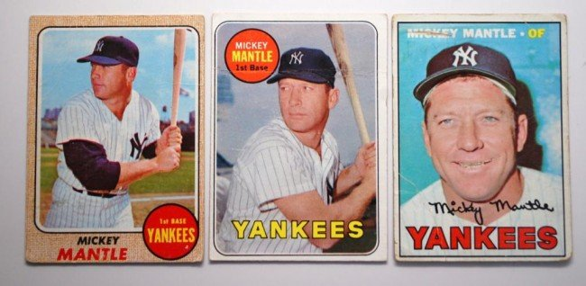 17: 3 Mickey Mantle Baseball Cards Topps 67-69