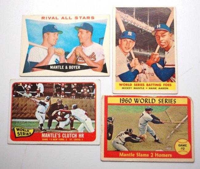 18: 4 Mantle Baseball cards w Hank Aaron