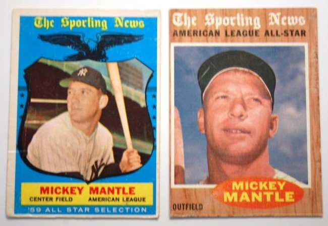 19: Two Mickey Mantle  Topps Baseball Cards