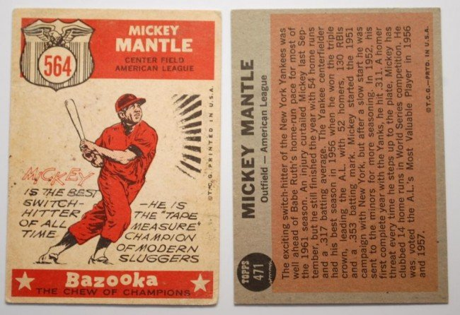 19: Two Mickey Mantle  Topps Baseball Cards - 2