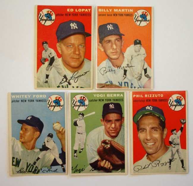 24: 5 1954 NY Yankees Topps Baseball Cards, Berra Etc