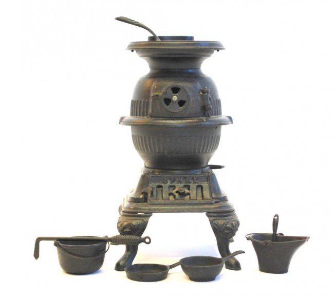 """126: """"Spark"""" Cast Iron Miniature Stove and Accessories"""