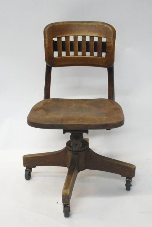 382: Vintage Wood Swivel Desk Chair